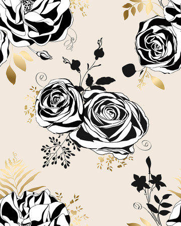 Black and white roses and peonies.