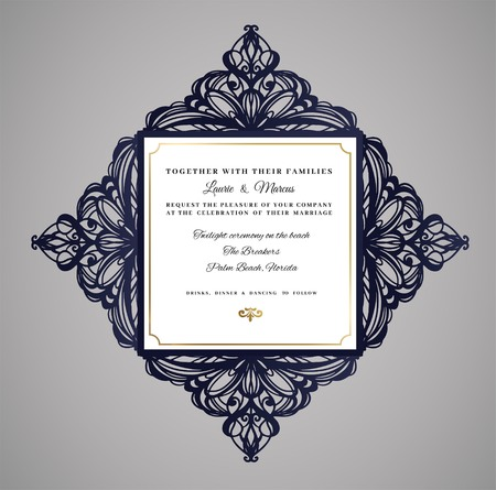Wedding invitation or greeting card with floral ornament.