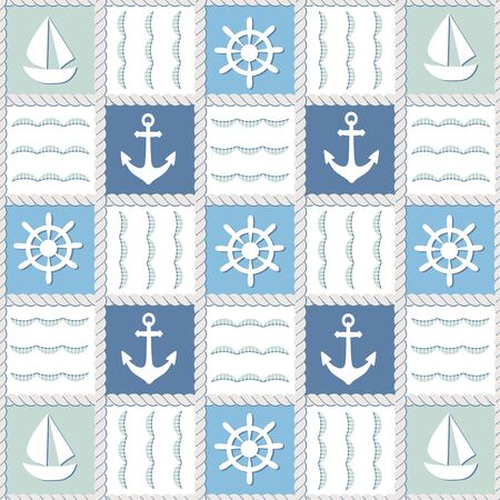 Seamless pattern in marine style with blue