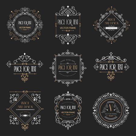 Golden luxury vector design frame and page decor. Ornament line logo design Stock Illustratie