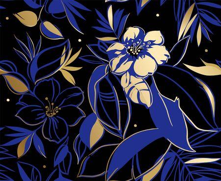 Floral pattern. Hand drawn vector illustration