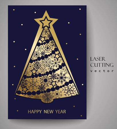 Stylized Christmas tree decoration made from swirl shapes. New Year design template.