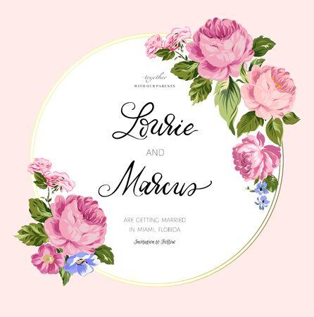 Floral wedding card. Romantic invitation