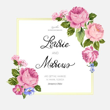 Floral wedding card. Romantic invitation. Иллюстрация