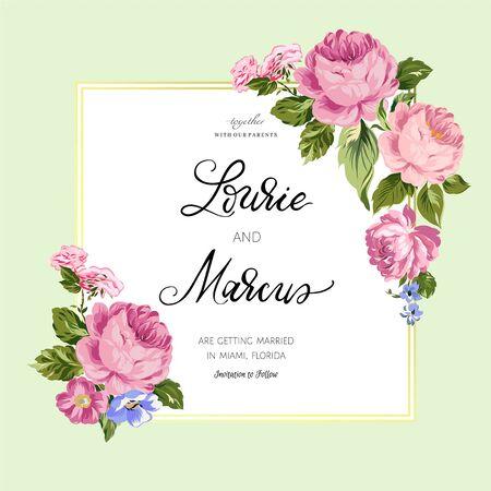 Floral wedding card. Romantic invitation. Stock Illustratie