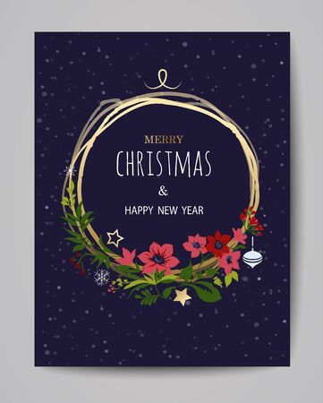 Merry Christmas greeting card. Hand drawn illustration. Winter theme greeting card. Фото со стока - 135797080