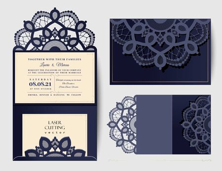 Wedding invitation or greeting card with gold floral ornament. Wedding invitation envelope for laser cutting. Vector illustration.
