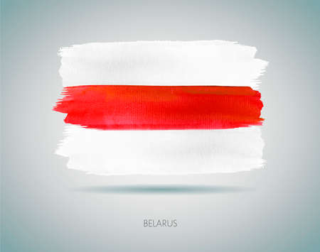 Painted Belarus flag, vector illustration. Watercolor style Фото со стока