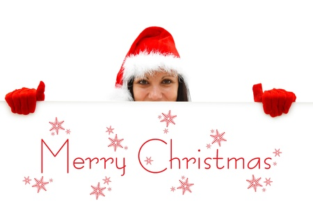 Female Santa with red hat and gloves over a white billboard, Merry Christmas is written on it Stock Photo - 8455891