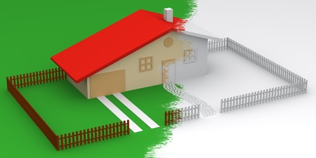 3D illustration of a designed house with garden in two colors Stock Illustration - 8479862
