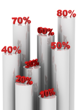 A 3D illustation of different levels showing discounts Stock Photo