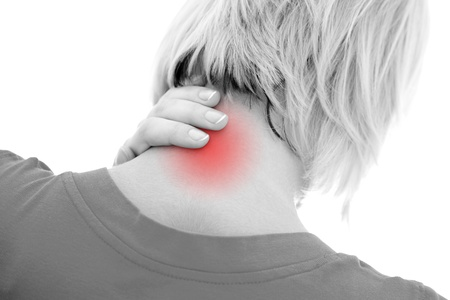 A woman suffering pain on her neck Stock Photo - 8479873