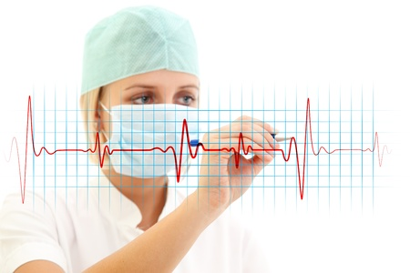 Female doctor in medical mask writing a cardiogram over white background photo
