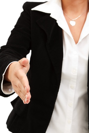 Businesswoman in elegant suit ready to shake hands Stock Photo - 8479865
