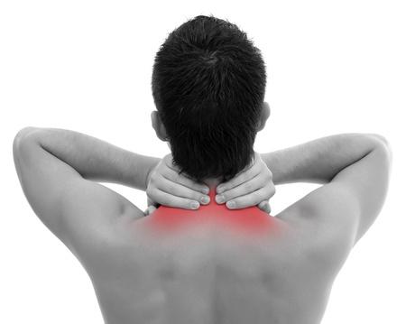 neck�: Hombre con dolor de cuello largo blanco backgound Foto de archivo