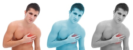 Young man suffering pain on his chest Stock Photo