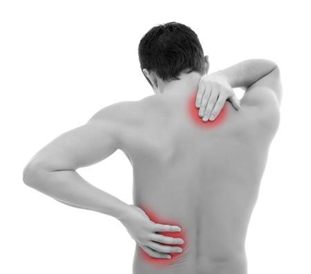 dolor muscular: Joven con su espalda, tener dolor Foto de archivo