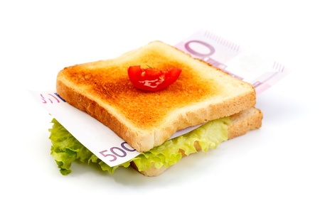 Sandwich stuffed with 500 euro, which represents the hunger for money Stock Photo - 9596163