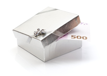 christmas debt: Money gift box with 500 euro isolated over white background