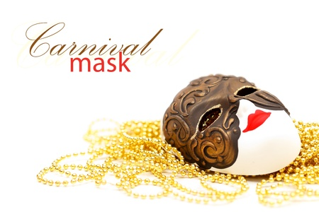 Ornate carnival mask from Venice with bead and with place for your text on the top