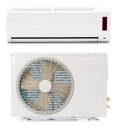 The two parts of an air conditioner Stock Photo