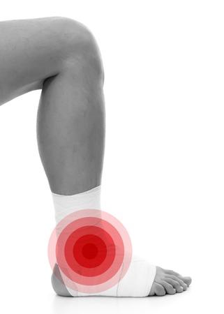White medicine bandage gauze on human injury foot
