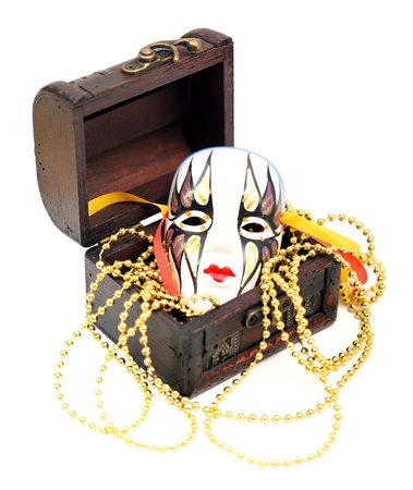 Party accessories with a Venice mask in an old box photo