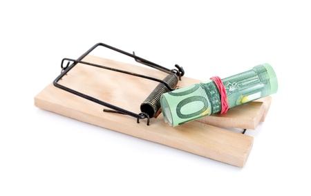piege souris: Photo d'un pi�ge � souris avec de l'argent comme app�t, concept