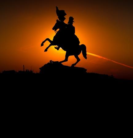 Statue of Erzherzog Karl in Wien, silhouette Stock Photo - 10726653