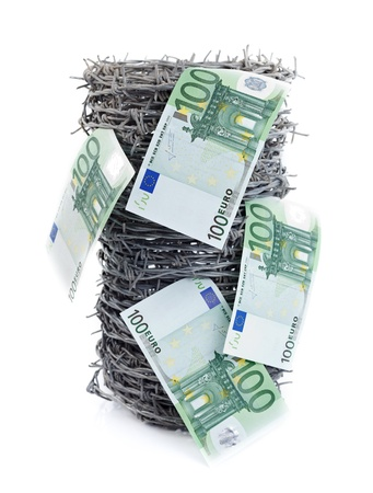 Euros on barbed wire on white background, concept Stock Photo - 10997823
