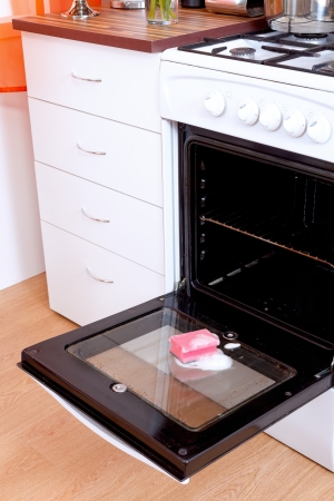 in oven: Opened dirty oven with a sponge and cleaning foam