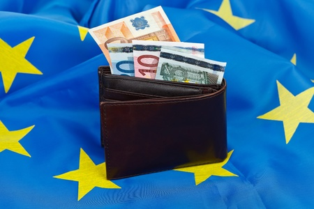 EU flag with wallet and money Stock Photo - 12912420