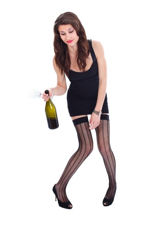 Druk woman in erotic clothes holding wine and glass