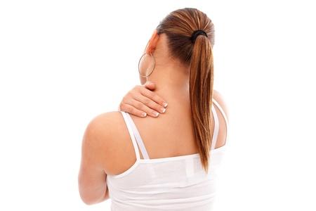 dolor muscular: Mujer joven con dolor en el cuello