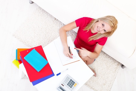 Attractive girl writing homework while sitting on the floor Stock Photo - 16890990