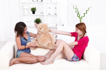 angry teddy: Portrait of fighting girls over a teddy bear  Stock Photo