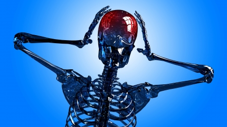 frontal view: Frontal view of a human skeleton head in pain made in 3d, over blue background.