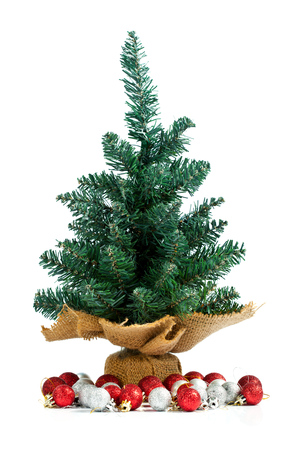 undecorated: Small undecorated pine with Christmas balls under the tree. Isolated on white.