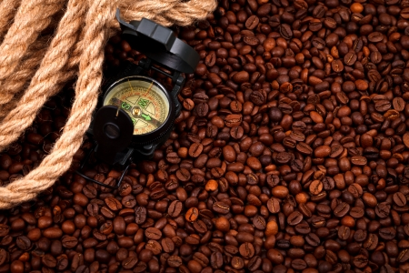cordage: Coffee beans with compass and cordage, concept