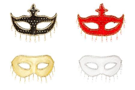 mascara de carnaval: Cuatro máscaras de colores aislados en blanco, collage
