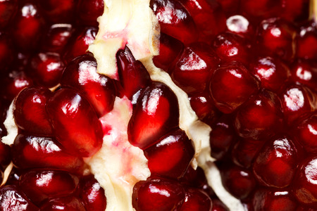 grenadine: Closeup view of red grenadine seeds