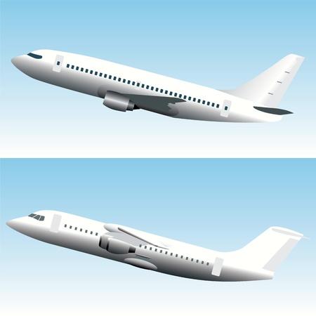 aviones pasajeros: Blanc comercial aviones a reacci�n Vectores