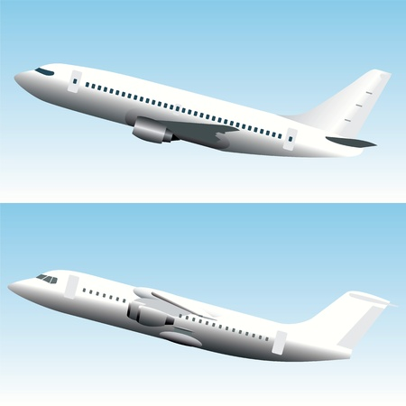 Blanc commercial jet airplanes Vector