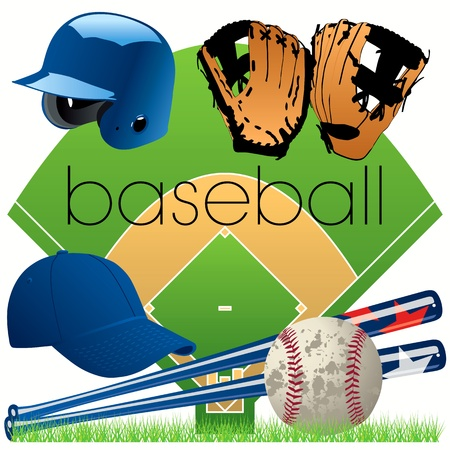 Baseball equipment set Vector