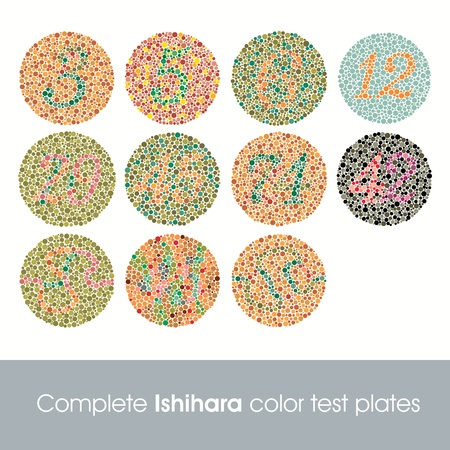 vision test: Prueba de color de Ishihara completa Vectores
