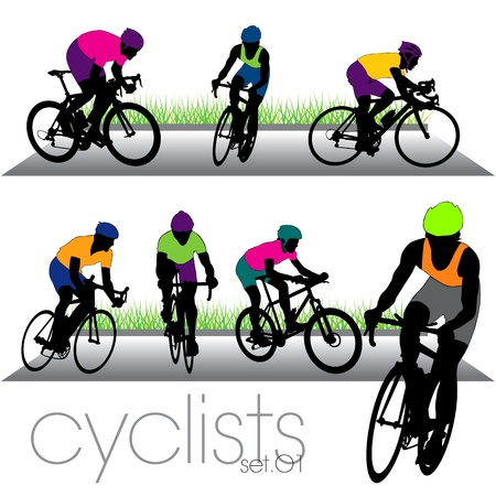 helmet seat: Bikers silhouettes set Illustration