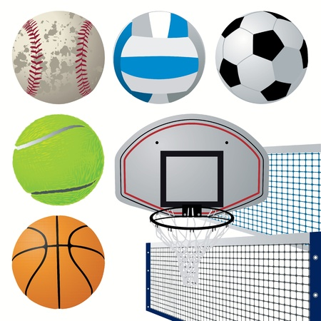Sports equipment set Vector