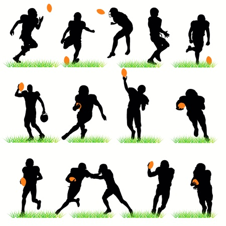 touchdown: American football silhouettes set