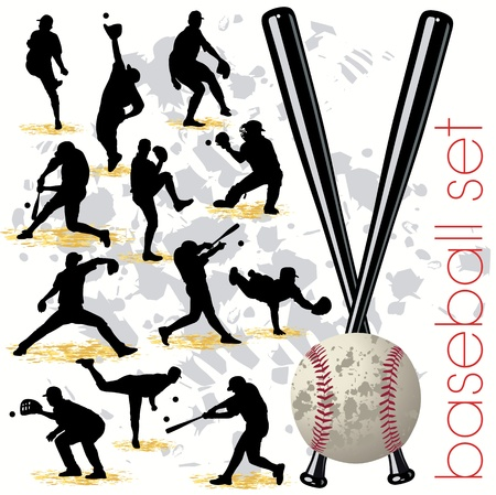 Baseball silhouettes set 01 Vector