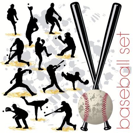 guante de beisbol: Siluetas de b�isbol set 01